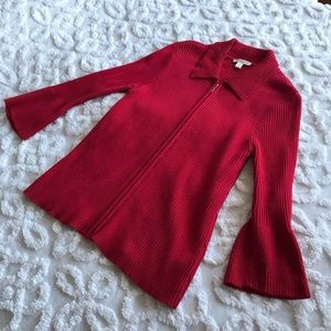 Coldwater Creek Red Cardigan Zipper Sweater Size M